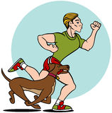 Homem que funciona com cão ilustração stock