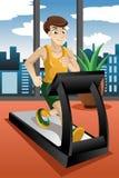 Homem que funciona na escada rolante Fotos de Stock Royalty Free