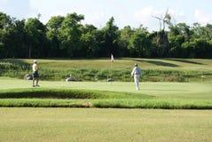 Homem que Golfing com transportador Foto de Stock Royalty Free