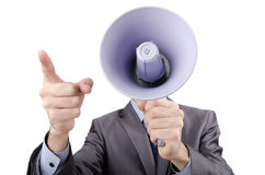 Homem que grita com altifalante Imagens de Stock Royalty Free