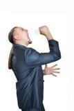 Homem que grita com bulbo Fotos de Stock