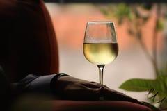 Homem que guarda o copo do vidro de vinho Fotografia de Stock