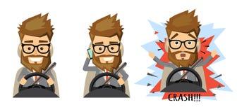 Homem que guarda o telefone celular ao conduzir o carro Foto de Stock