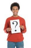 Homem que guarda a pergunta Mark Sign Foto de Stock Royalty Free