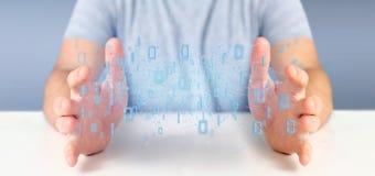 Homem que guarda a rendição binária da nuvem 3d dos dados Foto de Stock Royalty Free