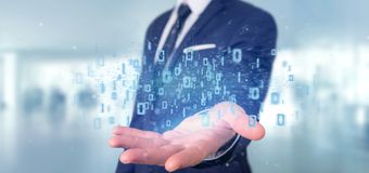 Homem que guarda a rendição binária da nuvem 3d dos dados Fotos de Stock Royalty Free
