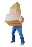 Homem que guardara caixas de cartão Fotografia de Stock Royalty Free