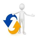 Homem que inclina-se para recicl o ícone Fotografia de Stock Royalty Free