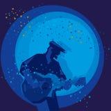 Homem que joga a guitarra ilustração do vetor