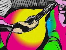 Homem que joga a guitarra portuguesa ilustração do vetor
