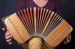 Homem que joga o acordeão de Bandoneon Imagem de Stock