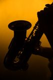 Homem que joga o saxofone na silhueta Fotografia de Stock