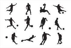 Homem que joga a pose do fluxo do pontapé do elemento do projeto da silhueta do futebol do futebol ilustração do vetor