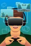 Homem que joga um jogo da realidade virtual Foto de Stock Royalty Free