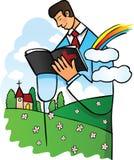 Homem que lê a Bíblia santamente   ilustração do vetor