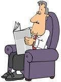Homem que l? um jornal ao sentar-se em uma cadeira f?cil ilustração do vetor