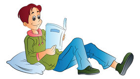 Homem que lê um livro, ilustração Foto de Stock Royalty Free