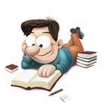 Homem que lê um livro no assoalho Imagem de Stock Royalty Free