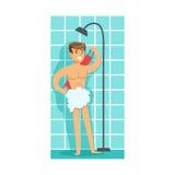 Homem que lava-se com toalha de rosto no chuveiro, parte dos povos no banheiro que faz seus procedimentos rotineiros da higiene ilustração stock