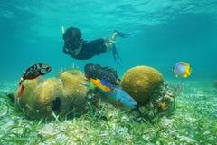 Homem que mergulha debaixo d'água a vista coral com peixes Imagens de Stock Royalty Free
