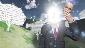 Homem que mostra a luz interna ilustração stock
