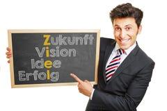 Homem que mostra o conceito alemão no quadro-negro Imagem de Stock Royalty Free