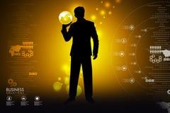 Homem que mostra o conceito do negócio global Imagens de Stock Royalty Free