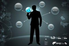 Homem que mostra o conceito do negócio global Fotografia de Stock