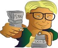 Homem que mostra o dinheiro ilustração royalty free