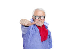 Homem que mostra o sinal so-so Fotografia de Stock Royalty Free