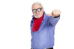 Homem que mostra o sinal so-so Fotos de Stock