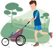 Homem que movimenta-se com carrinho de criança de bebê fotografia de stock