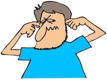 Homem que obstrui suas orelhas Imagens de Stock