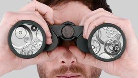 Homem que olha através dos binóculos ilustração do vetor