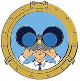 Homem que olha através dos binóculos Imagem de Stock Royalty Free