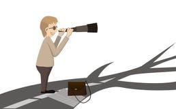 Homem que olha a maneira por binocular Imagem de Stock Royalty Free