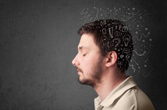 Homem que pensa com linhas e símbolos abstratos Foto de Stock Royalty Free