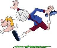 Homem que pensa o vetor dos desenhos animados nada mas do futebol ilustração royalty free