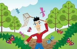 Homem que persegue borboletas e insetos ilustração do vetor