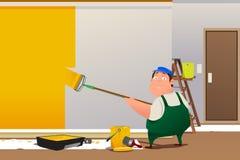 Homem que pinta uma parede Imagens de Stock