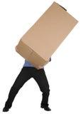 Homem que prende a caixa de cartão grande Foto de Stock Royalty Free