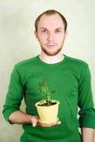 Homem que prende o flowerpot amarelo com planta de Kalanchoe Imagem de Stock Royalty Free