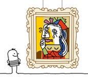 Homem que presta atenção a uma paródia de Pablo ilustração stock