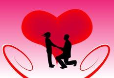 Homem que propõe na frente de um coração ilustração stock