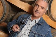 Homem que prova o vinho vermelho na excursão fotografia de stock