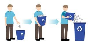 Homem que recicla o papel Fotografia de Stock Royalty Free