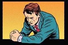 Homem que reza, emoções tristes da oração Foto de Stock