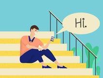 Homem que senta-se em escadas e que tem a conversação através do móbil ilustração royalty free