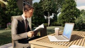 Homem que senta-se no banco em uma leitura do café ilustração do vetor