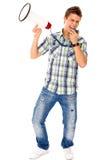 Homem que Shouting através do megafone Fotografia de Stock Royalty Free